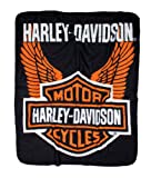 NORTHWEST ENTERPRISES Harley-Davidson Wings Fleece Throw Blanket 50'' x 60'' Black & Orange NW918580