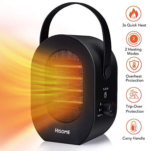 Hisome Portable Space Heater, 1200W/600W Indoor Heaters Fan, Electric Heaters, 2 Modes 3 Timing, Desktop Electric Warmer with Over Heat Tip-Over Protection for Home and Office Heater Portable Space
