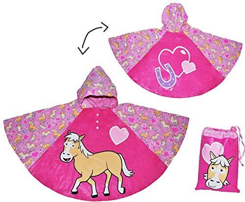 alles-meine.de GmbH Regenponcho / Regencape - Pferde Pony - Gr. 104 - 110 - 116 - 122 - 128 - Circa 3 bis 6 Jahre - für Kinder - Mädchen Pferd Fahrrad / Regen Poncho - Regenmante..