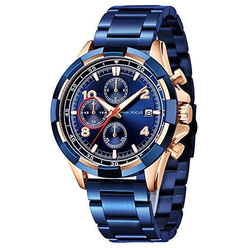 Reloj de negocios para hombre MINIFOCUS de lujo de acero inoxidable cronógrafo fecha deportes impermeable luminoso reloj de pulsera azul