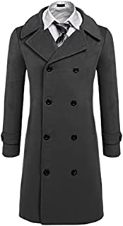 Men's Fashion Classic Wool Blend Double Breasted Pea Coat