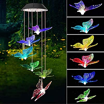 OURISE Solar Wind Chime Butterfly, Color Changing LED Solar Light Wind Chime Outdoor Hanging Patio Light, Porch, Deck, Garden Decor