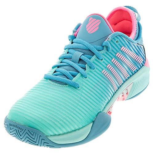 K-Swiss Women's Hypercourt Supreme Tennis Shoe (Aruba Blue/Maui Blue/Soft Neon Pink, 9)