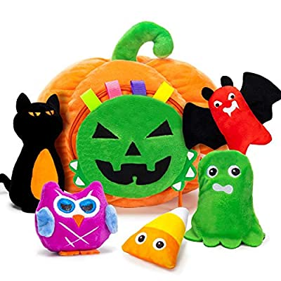 Halloween Plush Decoration Toys, Soft Fluffy Stuffed Pumpkin Playset Ghost Black Cat Crinkle Squeaker Rattle Halloween Thanksgiving Party Supplies Decor Gift for Baby Boys Girls Kids Toddlers(6PCS)