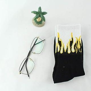 LALY A SHOP Moda Estilo Callejero Unisex con Calcetines de Fuego Divertido patrón de Llama patineta Hip Hop Hombre Calcetines de algodón Mujer Feliz Calcetines Largos, 3
