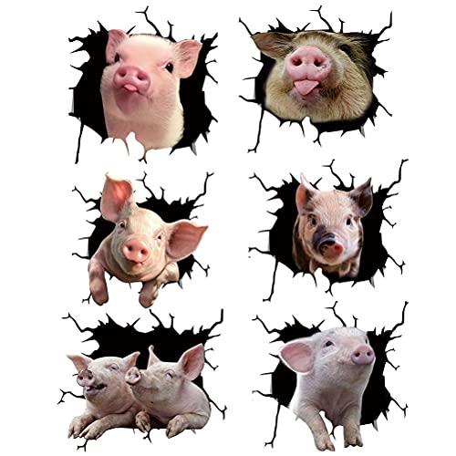 HEXLONG 6 pegatinas para ventana con diseño de animales para la pared, diseño de agujero de cerdo