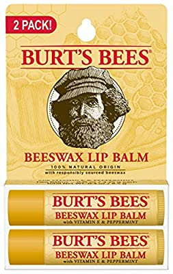 Burts Bees 100% Natural Origin Moisturizing Lip Balm, Beeswax, 2 Tubes in Blister Box
