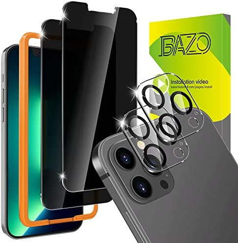 Photo of BAZO [2+2 Pack] Privacy Screen Protector Compatible for iPhone 13 Pro Max (6.7 inch) and Camera Lens Protector – Tempered Glass Anti Spy Film[Shatter Proof] [Case Friendly] [9H Hardness ]