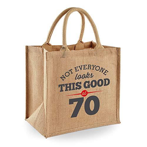 Bolsa de yute de 70 cumpleaños - Para mujer - Como regalo, recuerdo o para hacer la compra - Natural - 30 x 30 x 19cm