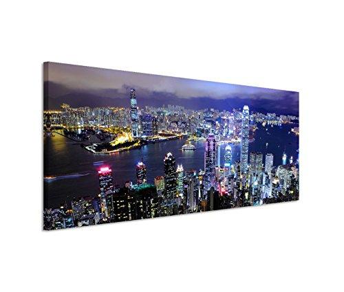 Paul Sinus Art 150x50cm Leinwandbild auf Keilrahmen Hongkong Gebäude Wasser Nacht Lichter Wandbild auf Leinwand als Panorama