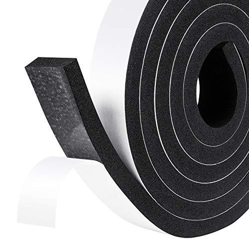 Schaumstoff Selbstklebend 25mm(B) x10mm(D) x 4M(L) Dichtungsband Türdichtung kochheld, Moosgummi selbstklebend für Kollision Siegel Schalldämmung Gesamtlänge Schwarz
