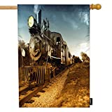 Moslion Train House Flag Steam Engine Locomotive Train Railroad Track Camera Garden Flags 28x40 Inch Double-Sided Banner Welcome Yard Flag Home Outdoor Decor. Lawn Villa Brown Blue