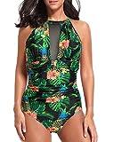Tempt Me Women One Piece Swimsuit Plunge Mesh Ruch Swimwear Black Pineapple M