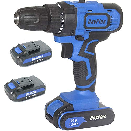 Cordless Drill with 2 Batteries (1500mAh), Hammer Drill Driver, Cordless Drill Impact Driver 45Nm, Fast Charger Power Tool, 18+1 Torque Setting w/ 29Pcs Accessories Tools, Forward/Reverse Switching