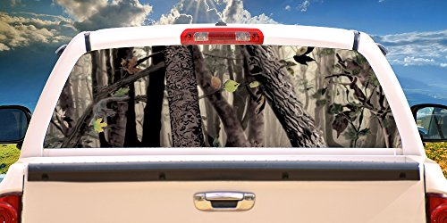SignMission Tree CAMO Rear Window Graphic Back Truck Decal SUV View Thru Vinyl, 22' X 65'