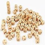 ARTESTAR Holzbuchstaben Perlen 100 Stück 12x12mm Holz Perle Buchstaben DIY Schnuller Kette Still Halskette Holz Alphabet Zahnen Perlen für Jungen un