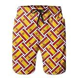 wwoman Pantalones Cortos de Tabla de Playa de Secado rápido para Mujer Swims Trunks, Tejido de Bandera de España, XXL