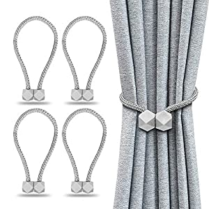 4PCS Magnetic Curtain Tiebacks, Decorative Drape Tie Backs Holdback Holder for Window Draperies, Octagon Style Convenient Drape Rope Tie Backs