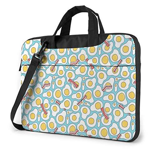 Laptop Shoulder Bag Carrying Laptop Case, Bacon Egg Pattern Computer Sleeve Cover, Business Briefcase Protective Bag