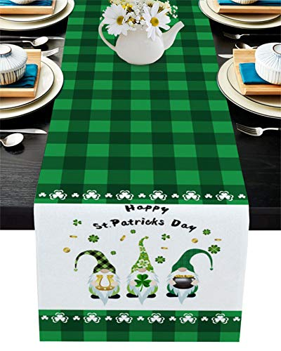 St Patrick's Day Table Runner Gnomes Clover Cotton Linen Table Dresser Scarves with Shamrock Rectangle Tablecloth for Holiday Parties Wedding Home Decor Gatherings,13x70inch (St Patrick's Day TYPE1)