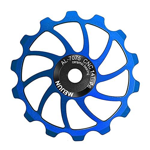TUCKE Bicicleta de cerámica Rodamiento Guía Rueda 14T/15T/16T Relación de engranajes traseros AL-7050 CNC bicicleta Rueda de cadena trasera para MTB varilla accesorios de ciclismo (Azul 14T)