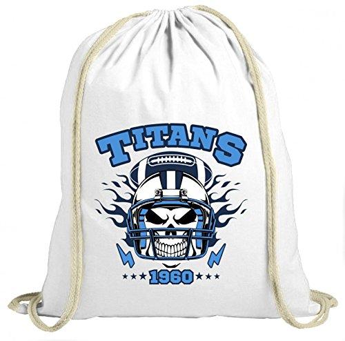 Shirt Happenz Titans Skull Premium Turnbeutel American Football Totenkopf Football-Helm Unisex Gymbag, Farbe:Weiß (Gymbeutel);Größe:37cm x 46 cm