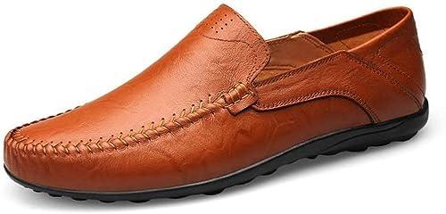 Hhor Chaussures Mocassins pour Hommes, Mocassins pour Hommes Glissez sur des Mocassins Confortables et des Chaussures antidérapantes de Style léger (Couleur  Brun Rouge, Taille  40 EU)