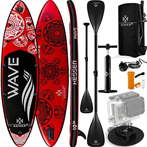 KESSER® Aufblasbare SUP Board Set Stand Up Paddle Board | 366x77x15cm 12.0\' | Supboard Premium Surfboard Wassersport | 6 Zoll Dick | Komplettes Zubehör | 130kg Rot