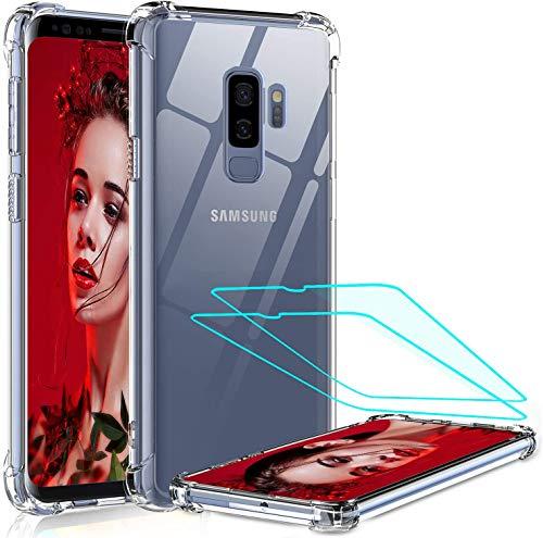 LeYi Funda Samsung Galaxy S9 Plus con [2-Unidades] 3D Curvo PET Pantalla,Cristal Transparente Shockproof Carcasa Ultra Silicona PC y TPU Slim Gel Bumper Antigolpes Cover Case para Movil S9 Plus, Clear