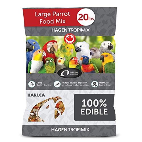 HARI Tropimix Bird Food, Large Parrot Food with Seeds, Fruit, Nuts, Vegetables, Grains, and Legumes, Enrichment Food, 20 lb Bag, Model Number: 80664