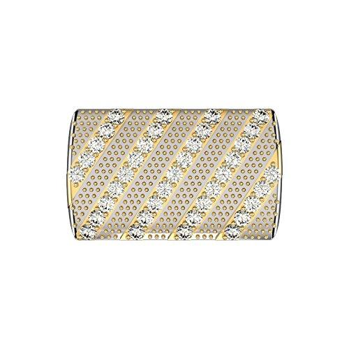 JewelsForum 0.37Cts Weißer Diamant 9Ct Massives Gold Manschettenknöpfe Herren Designer Manschettenknöpfe Streifenmuster Art Deco Manschettenknöpfe Bulletback (Weiß-Gelb-Gold)