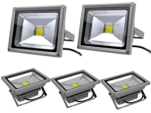 Leetop 5pcs LED Projecteur Extérieur 20W LED Spot,Eclairage de Sécurité,Étanche IP65,Lumiere Blanc Froid(6000K-6500K) pour Jardin,Cour,Terrasse