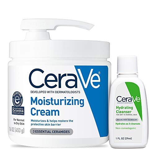 CeraVe Moisturizing Cream Combo Pack | Contains 16 Ounce with Pump and 1 Ounce Hydrating Facial Cleanser Trial/Sample Size