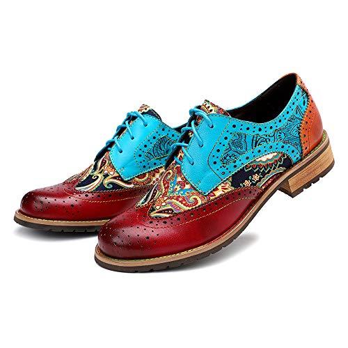 CrazycatZ Damen Leder Oxford Schuhe Perforierte Schnürspitze Bunte Leder Vintage Bunte Schuhe (40 EU, ROT)
