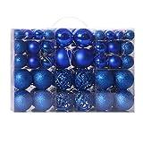 GCDN - 100 adornos de bolas de Navidad de 3 a 6 cm, oro plateado, rojo y azul, varios colores, bolas de plástico de Navidad, decoración colgante, árbol de Navidad
