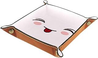BestIdeas Panier de rangement carré 20,5 × 20,5 cm, avec visage amoureux avec languette, boîte de rangement sur table pour...