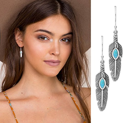 LittleB Bohemia Turquoise Earrings Personality Feather Earrings for Women and Girls.