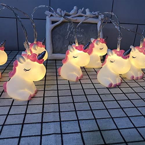 NIWWIN 1.8 M 10 LED chambre d'enfants mignon Animal veilleuses pour lumières de vacances arbre lumières décoratives fête cour et jardin enfants chambre dortoir décor (Licorne)