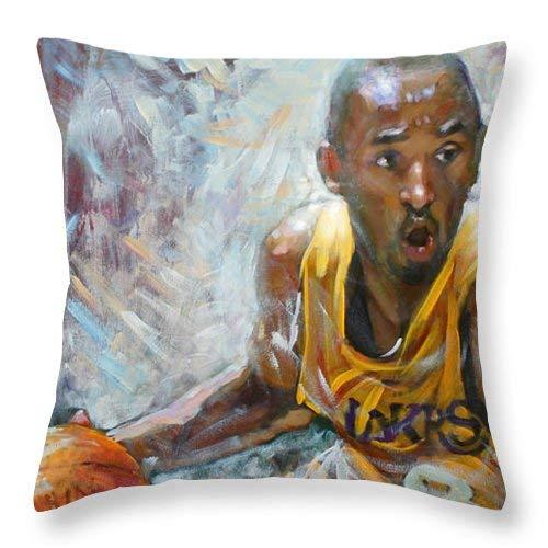 Lplpol NBA Lakers Kobe - Funda de cojín cuadrada de algodón y lino para cojín (40,6 x 40,6 cm), color negro