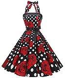 Timormode – Vestido de cóctel sexy, retro, vintage, para mujer, diseño de los años 40, 50 y 60, estilo Rockabilly, con escote C- Rose Noir M
