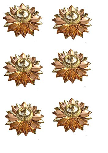 SSR 6 Stück Blumen-Design Multi Farbe Messing Lotus Akhand Kuber Diya mit Spiegel-Finish Basis Diya Jyot Puja für Zuhause Öllampe für Anbetung Deepak