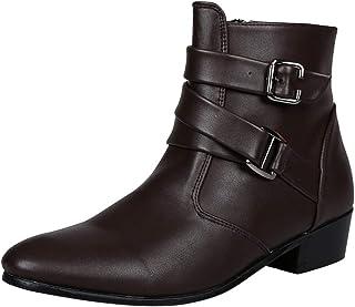 LOVELYOU Ankle Pointé Boots Chelsea Hommes Tube Court Talon Bas Bottes Faux Cuir Travail Moto Fond Plat Simples Boots Vint...