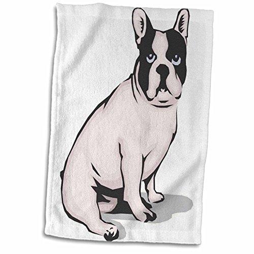 3D Rose niedlich und kuschelig Hund sitzend Französische Bulldogge Handtuch, 38,1 x 55,9 cm