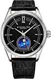 Stuhrling Original MoonPhase Dress Watch - Stainless Steel Case and Black Leather Band - Black...