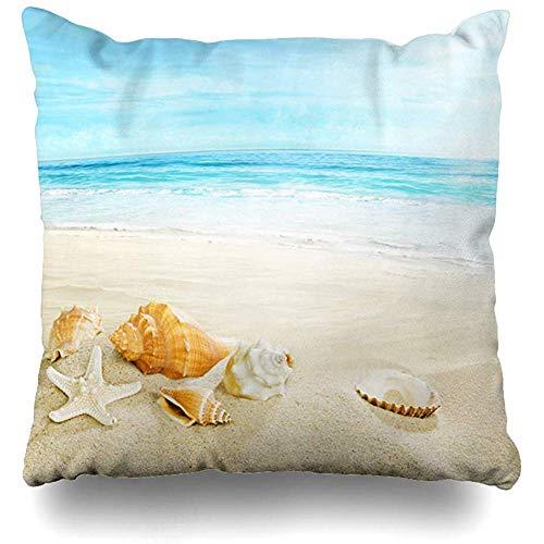 Housse de Coussin Cancun Blue Azure Shells On Sandy Beach Nature Calme...