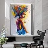 wZUN Carteles e Impresiones Coloridos Abstractos de la Lona de la Mujer Arte de la Mujer Atractiva Pintura de la Lona Cuadros del Arte de la Calle 60X90 Sin Marco