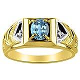 Anillo de topacio azul y diamante de 14 K amarillo o oro blanco de 14...