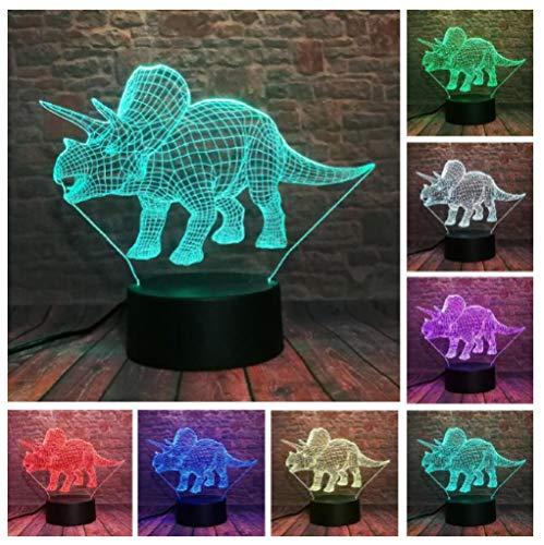 Luces nocturnas 3D para niños Dinosaurio animal 7 colores cambian la luz nocturna para niños con Smart Touch Regalos perfectos para niños y decoración de habitaciones.