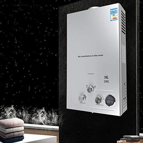 36 KW 10L Gaswarmwasserbereiter Erdgas-Warmwasserbereiter aus Edelstahl Sofortiger Edelstahlkessel Tankless Erdgas-Warmwasserbereiter mit Duschset