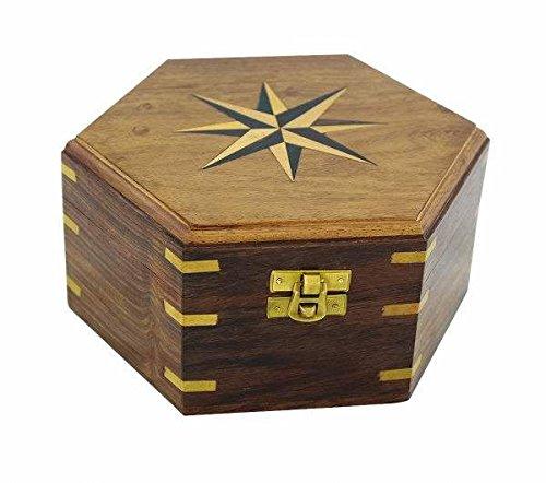 maritime Caja de madera/baúl/Cofre del Tesoro–Marquetería/latón bisagras de 18cm de hexagonal